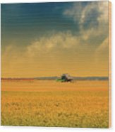 Agricultural Landscape At Sunrise Wood Print by Photo by Jim Norris