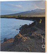 Ahihi Preserve And Haleakala Maui Hawaii Wood Print