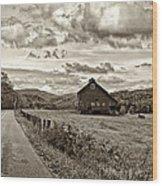 Ah...west Virginia Sepia Wood Print