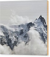 Aiguille Du Midi Out Of Clouds Wood Print