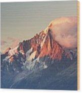 Aiguille Verte With Leeward Clouds Wood Print