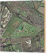 Aintree Horse Racing Track, Aerial Image Wood Print