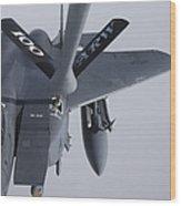 Air Refueling A F-15e Strike Eagle Wood Print