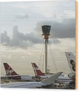 Air Traffic Control Tower, Uk Wood Print by Carlos Dominguez
