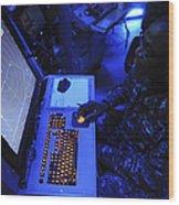 Air-traffic Controller Tracks Incoming Wood Print
