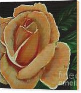 Airbrushed Coral Rose Wood Print