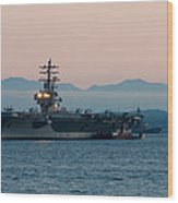 Aircraft Carrier At Sunset - Uss Ronald Reagan Wood Print