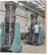 Aircraft Engine Construction Wood Print