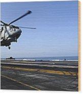 Airman Directs An Eh-101 Merlin Wood Print