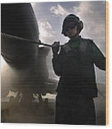 Airman Holds Up The Safety Shot Line Wood Print by Stocktrek Images