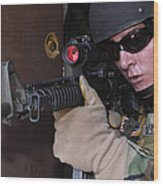 Airman Posts Security At The Front Door Wood Print