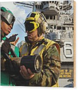 Airman Receives Proper Fire Fighting Wood Print by Stocktrek Images