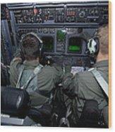 Airmen At Work In A Mc-130h Combat Wood Print