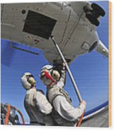 Airmen Attach Pallet Rigs To An Sa-330j Wood Print