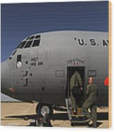Airmen Board A C-130j Hercules At Dyess Wood Print