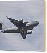 Airplane In The Sky Wood Print