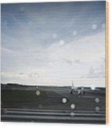 Airplane On Runway Wood Print