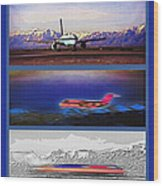 Airport - Airline Triptych Wood Print by Steve Ohlsen