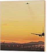 Airport At Sunset Wood Print