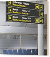 Airport Directional Signs Wood Print