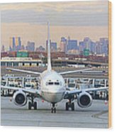 Airport Overlook The Big City Wood Print by Mike McGlothlen