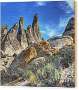 Alabama Hills Granite Fingers Wood Print by Bob Christopher
