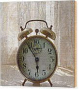 Alarm Clock On Windowsill Wood Print