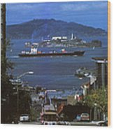 Alcatraz From San Fran Hilltop Wood Print by Paul W Faust -  Impressions of Light