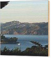 Alcatraz Island American Flag Wood Print