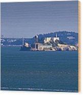 Alcatraz Island In San Francisco Bay Wood Print