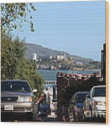 Alcatraz Island Through The Hyde Street Pier In San Francisco California . 7d13973 Wood Print by Wingsdomain Art and Photography