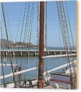 Alcatraz Island Through The Hyde Street Pier In San Francisco California . 7d14147 Wood Print