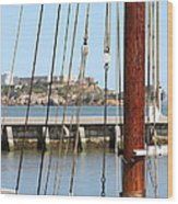 Alcatraz Island Through The Hyde Street Pier In San Francisco California . 7d14148 Wood Print