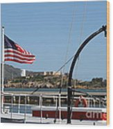 Alcatraz Island Through The Hyde Street Pier In San Francisco California . 7d14163 Wood Print