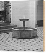 Alcazar Courtyard In Black And White Wood Print