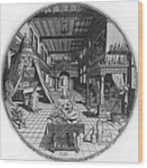 Alchemists Laboratory, 1595 Wood Print by Science Source