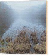 Alcotts Pond In Fog Wood Print