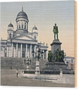 Alexander II Memorial At Senate Square In Helsinki Finland Wood Print
