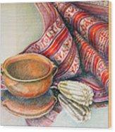 Alfareria Sobre Aguayo Con Choclo Wood Print