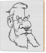 Alfred Wallace, Caricature Wood Print