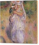 Algerian Woman And Child Wood Print by Pierre Auguste Renoir