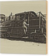All Aboard Antique Wood Print