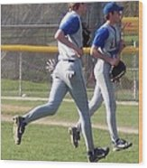 All Air Baseball Players Running Wood Print