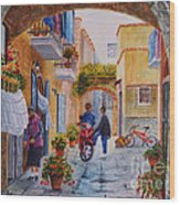 Alley Chat Wood Print