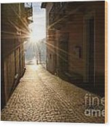 Alley In Backlight  Wood Print