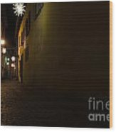 Alley In Night With Lights Wood Print