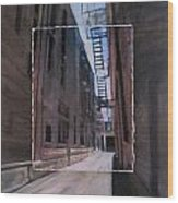 Alley With Fire Escape Layered Wood Print