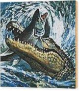 Alligator Eating Fish Wood Print