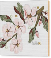 Almond Branch With Flowers And Leaves Wood Print