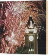 Aloha Tower Fireworks Wood Print